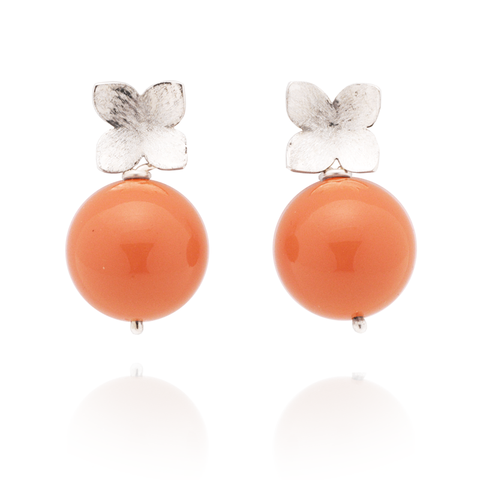Flower Studs (Sterling Silver) Coral Pearl