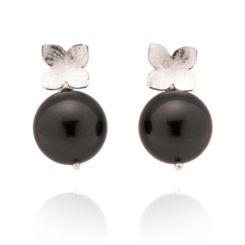 Flower Studs (Sterling Silver) Black Pearl