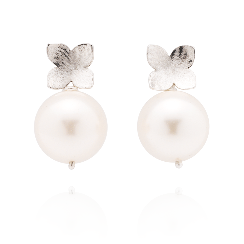 Flower Studs (Sterling Silver) White Pearl