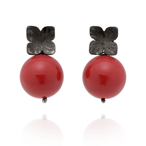 Flower Studs (Black Silver) Red Coral Pearl