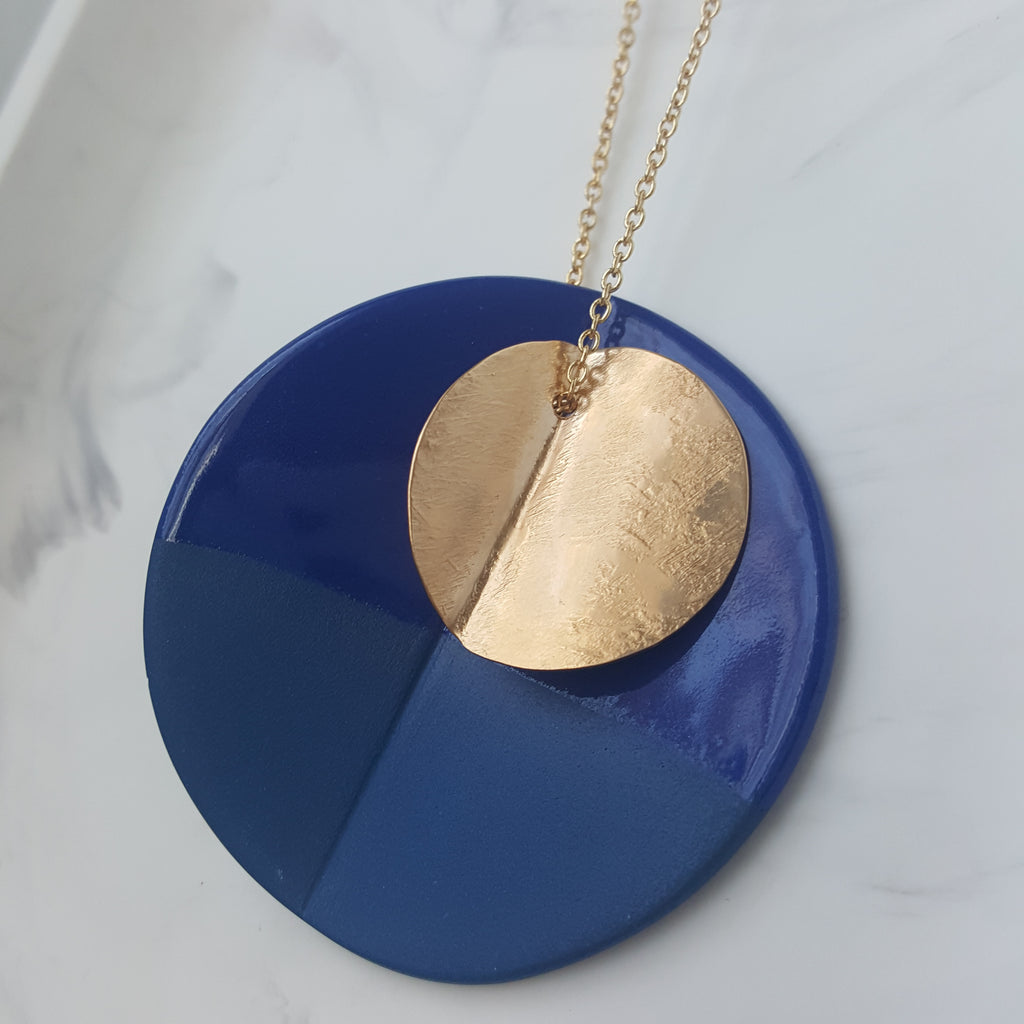 """Eucalyptus"" Porcelain X-Large Pendant - Yellow Gold-fill - Cobalt Blue"