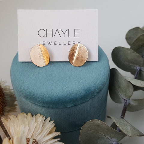 """Eucalyptus"" Studs - Yellow Gold-fill"