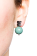 Flower Studs (Black Silver) Turquoise Pearl