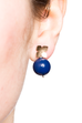Flower Studs (14K Gold-filled) Dark Lapis Pearl