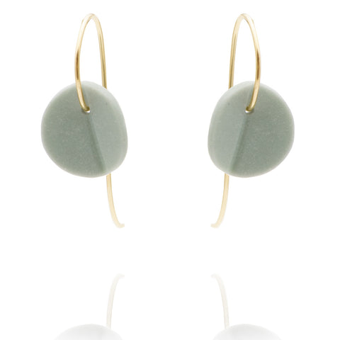 """Eucalyptus"" Small Porcelain Earrings - Light Teal - Yellow Gold-fill"