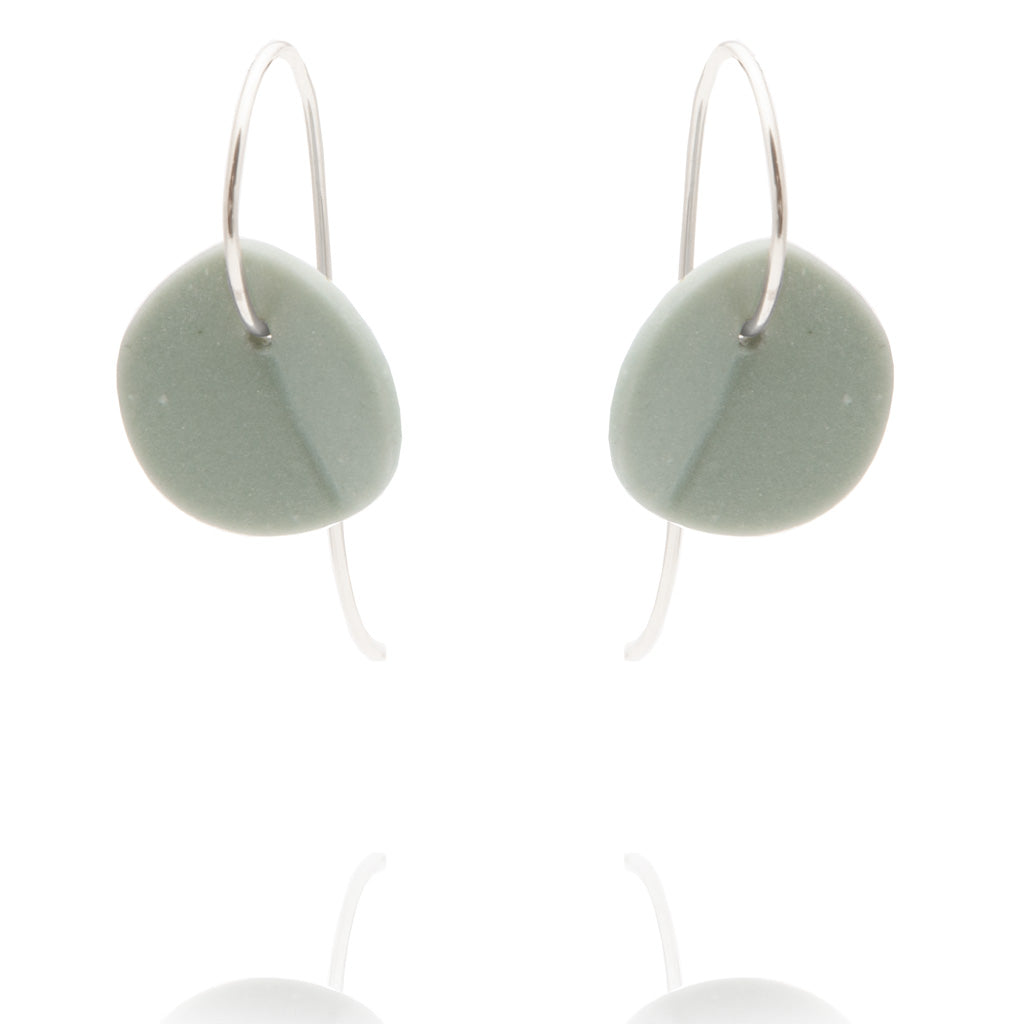 """Eucalyptus"" Small Porcelain Earrings - Light Teal - Silver"