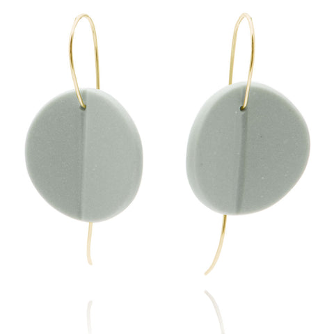 """Eucalyptus"" Porcelain Earrings - Light Teal - Yellow Gold-Fill"