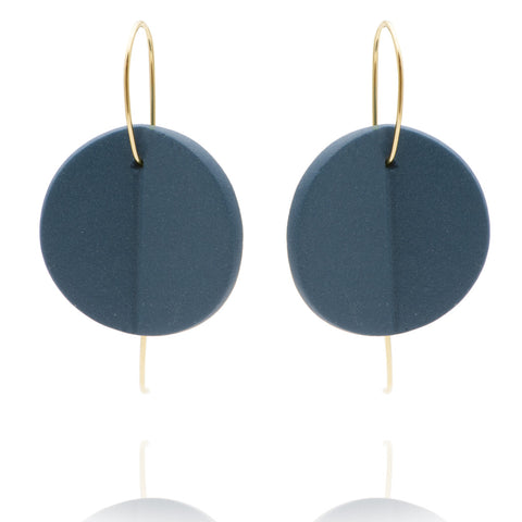 """Eucalyptus"" Porcelain Earrings - Teal - Yellow Gold-Fill"