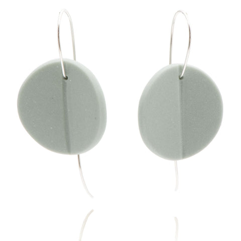"""Eucalyptus"" Porcelain Earrings - Light Teal - Silver"