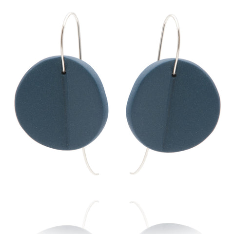 """Eucalyptus"" Porcelain Earrings - Teal - Silver"