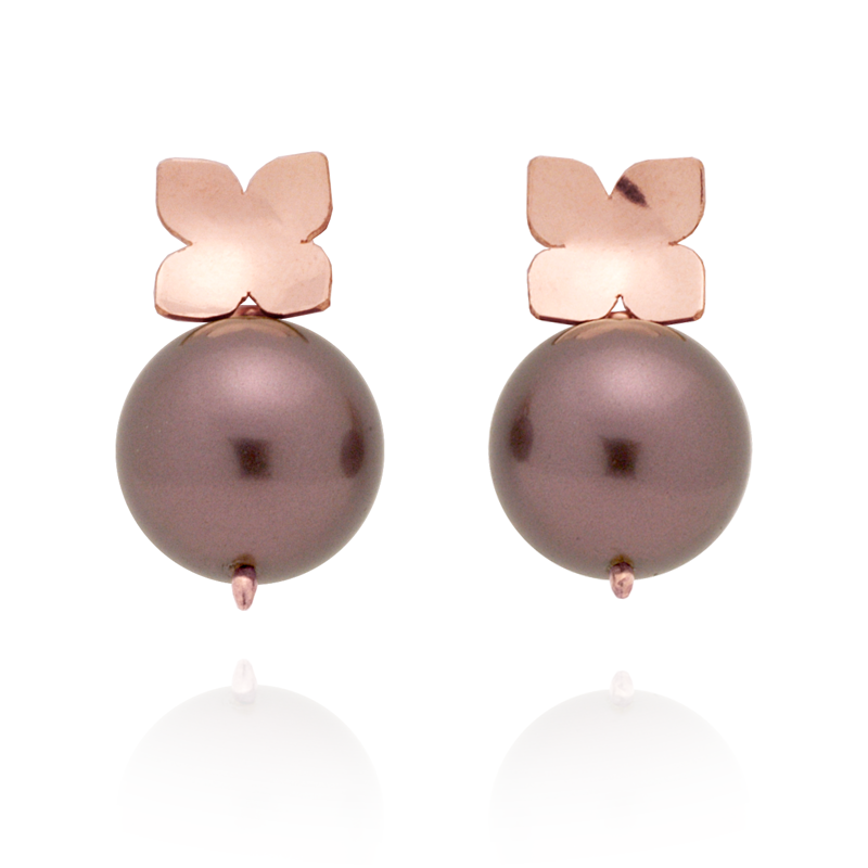 Flower Studs (14K Rose Gold-filled) Burgundy Pearl