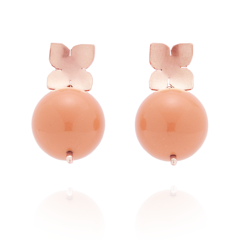 Flower Studs (14K Rose Gold-filled) Coral Pearl