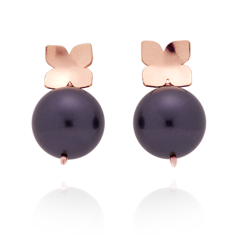 Flower Studs (14K Rose Gold-filled) Plum Pearl