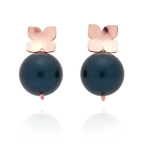 Flower Studs (14K Rose Gold-filled) Teal Pearl