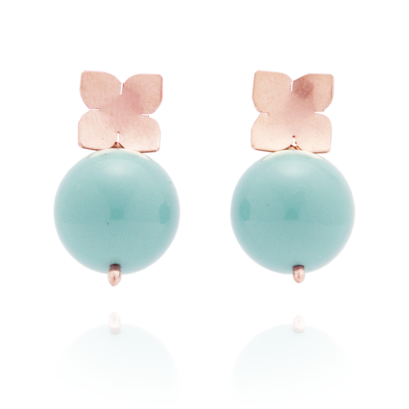 Flower Studs (14K Rose Gold-filled) Turquoise Pearl