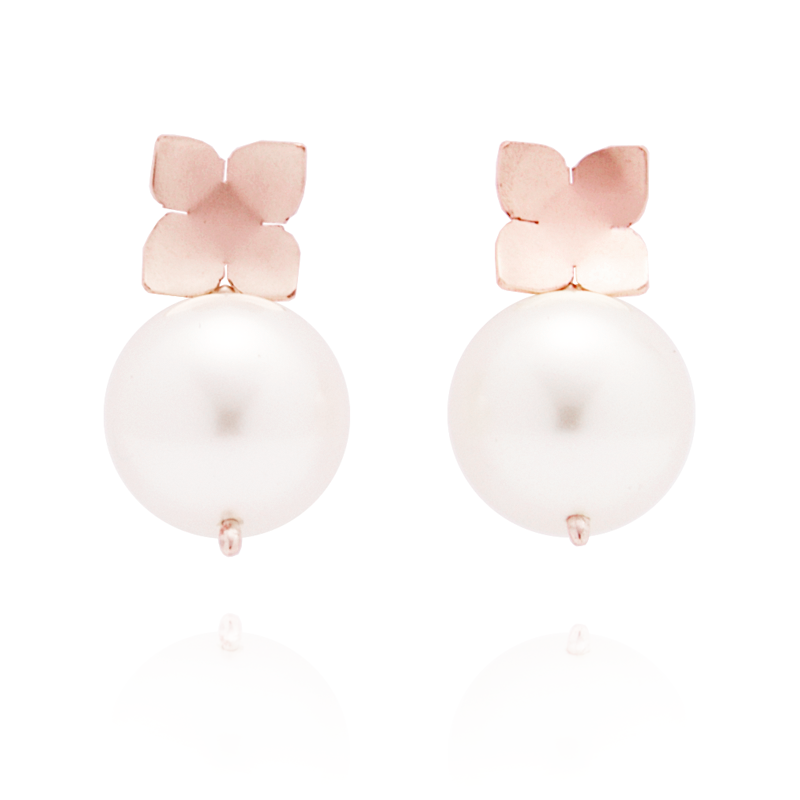 Flower Studs (14K Rose Gold-filled) White Pearl