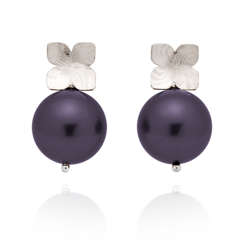 Flower Studs (Sterling Silver) Plum Pearl