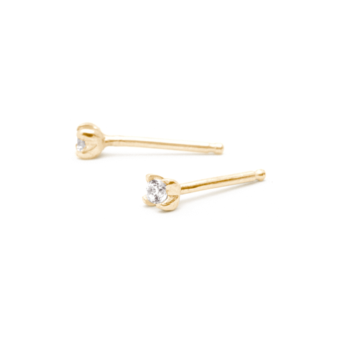 """Sunflower"" 2mm Diamond Studs - 14K Yellow Gold"