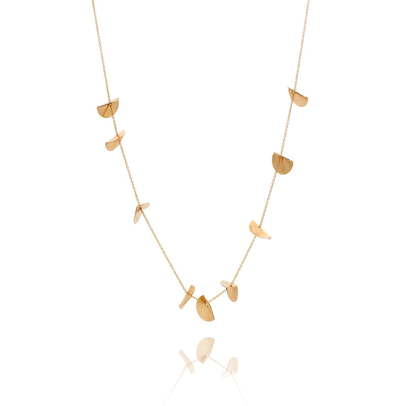 """Eucalyptus"" Long Chain Necklace - Yellow Gold-Fill"