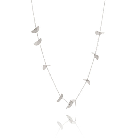 """Eucalyptus"" Long Chain Necklace - Silver"