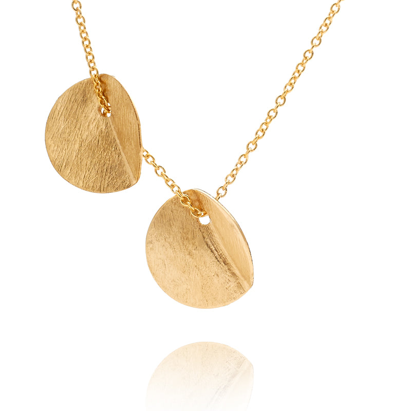 """Eucalyptus"" Small Double Pendant - Yellow Gold-Fill"