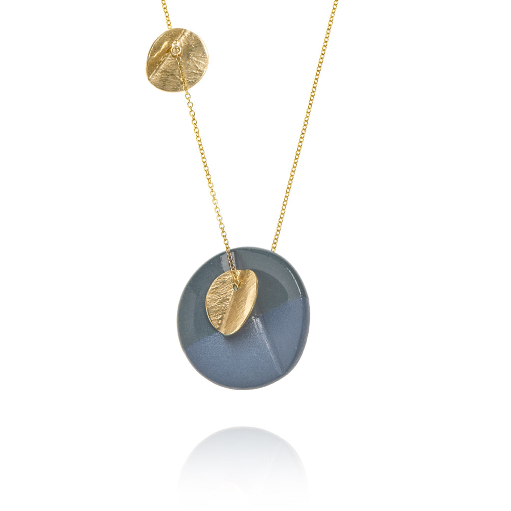 """Eucalyptus"" Porcelain Large Triple Pendant - Dark Teal - Yellow Gold-Fill"