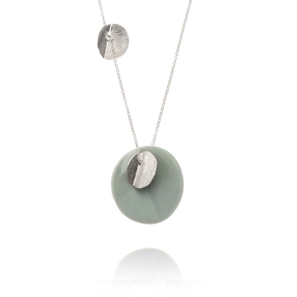 """Eucalyptus"" Porcelain Large Triple Pendant - Light Teal - Silver"