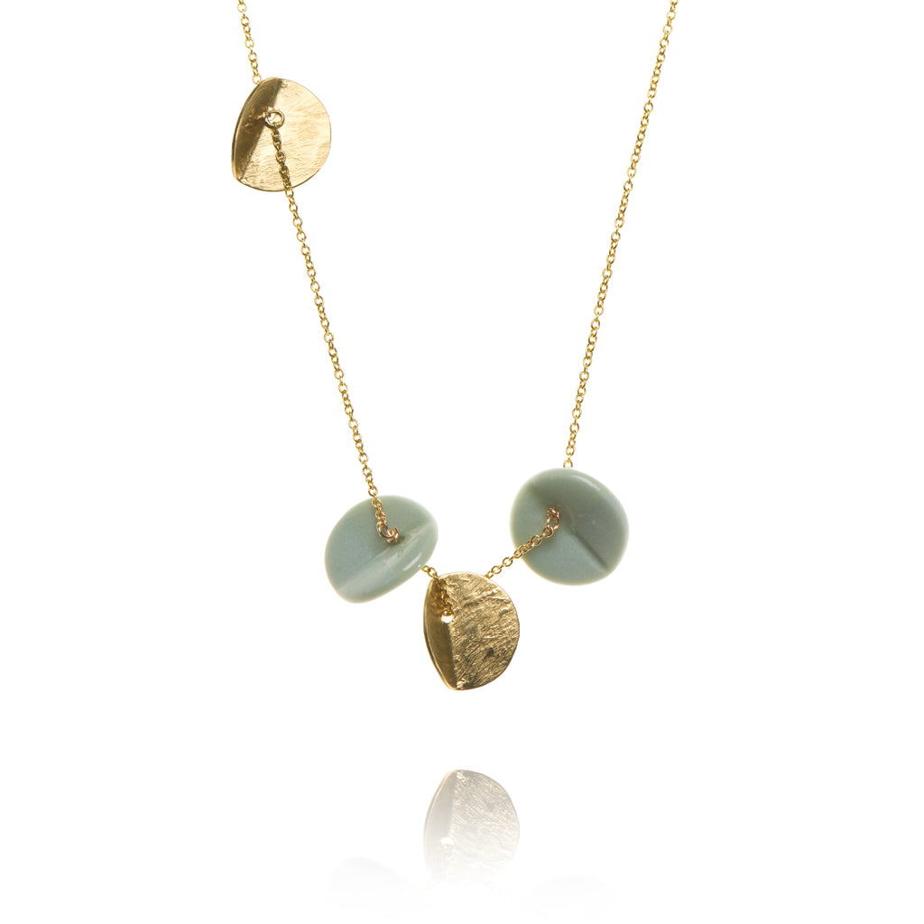 """Eucalyptus"" Porcelain Quartet Pendant - Light Teal - Yellow Gold-Filled"