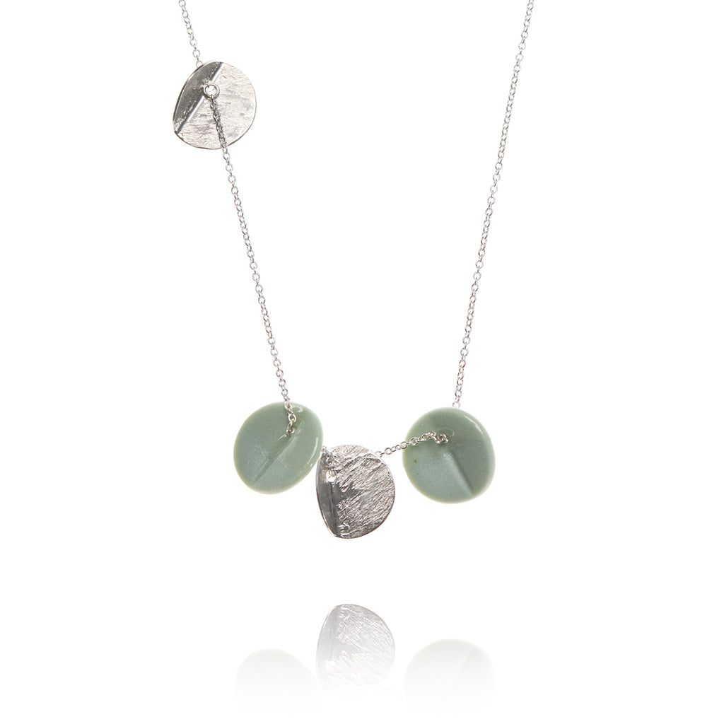 """Eucalyptus"" Porcelain Quartet Pendant - Light Teal - Silver"