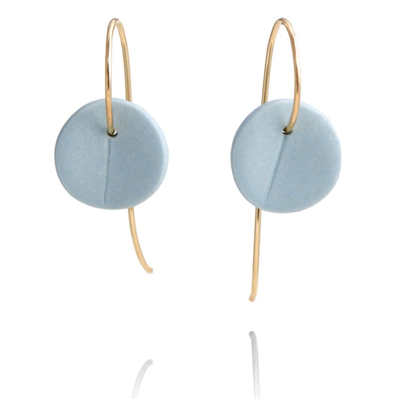 """Eucalyptus"" Small Porcelain Earrings - Light Blue - Yellow Gold-fill"