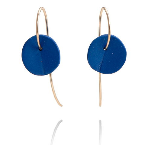 """Eucalyptus"" Small Porcelain Earrings - Cobalt Blue - Yellow Gold-fill"