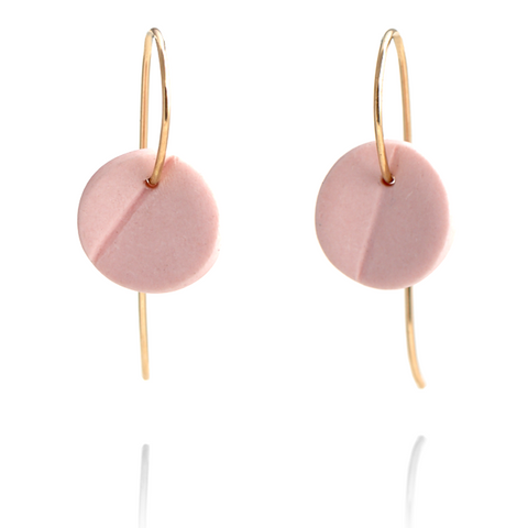 """Eucalyptus"" Small Porcelain Earrings - Yellow Gold-Fill - Light Pink"