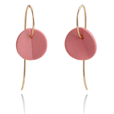 """Eucalyptus"" Small Porcelain Earrings - Pink Coral - Yellow Gold-Fill"