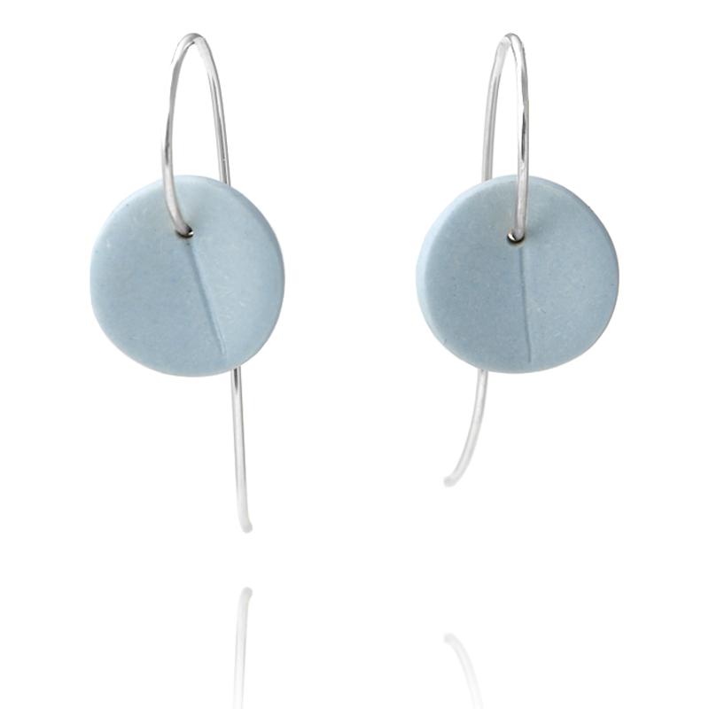 """Eucalyptus"" Small Porcelain Earrings - Light Blue - Silver"