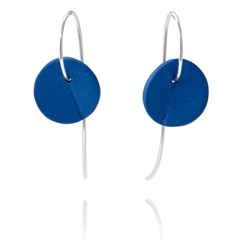 """Eucalyptus"" Small Porcelain Earrings - Cobalt Blue - Silver"