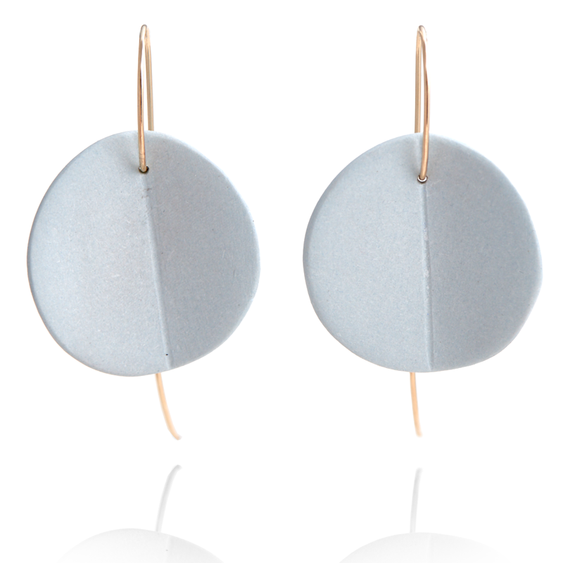"""Eucalyptus"" Porcelain Earrings - Light Blue - Yellow Gold-Fill"