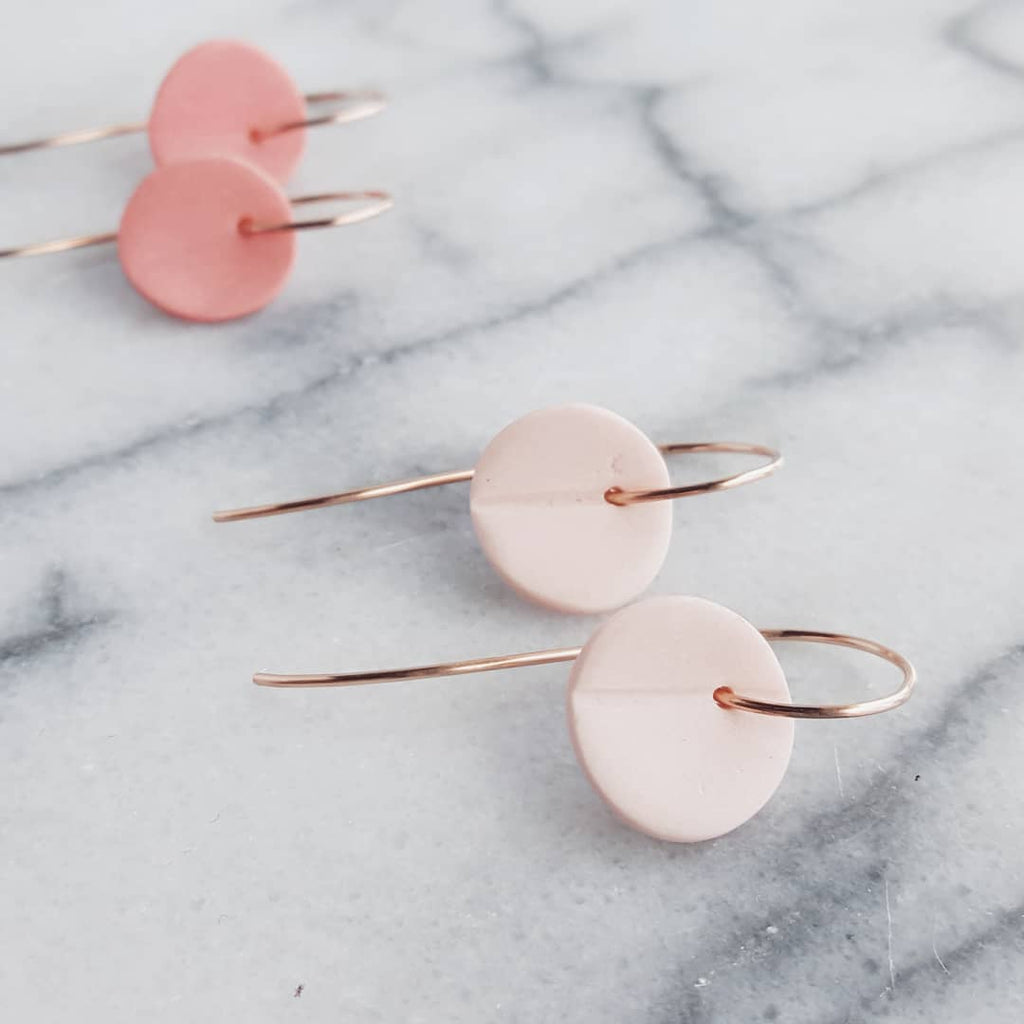 """Eucalyptus"" Small Porcelain Earrings - Rose Gold-Fill - Light Pink"