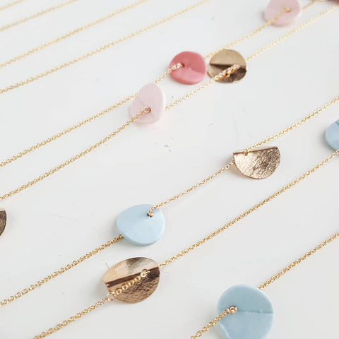 """Eucalyptus"" Porcelain Long Chain Necklace - Yellow Gold-fill - Light Blue"