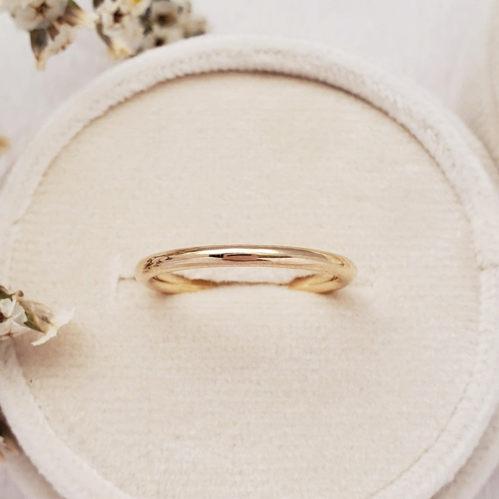 """Rounded"" 2mm Band 14K Yellow - Ready-to-ship - Size. 6.0"