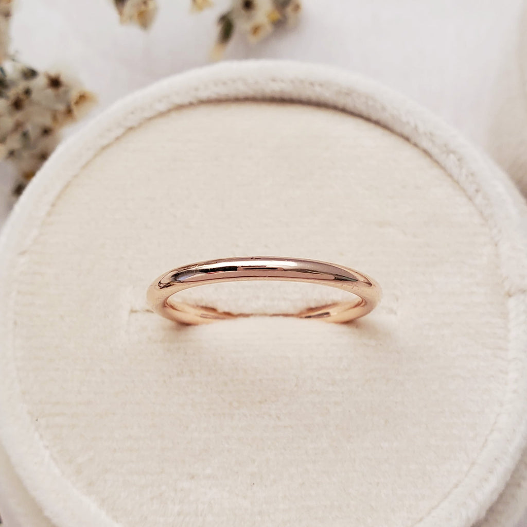 """Rounded"" 2mm Band 14K Rose - Ready-to-ship - Size. 6.0"