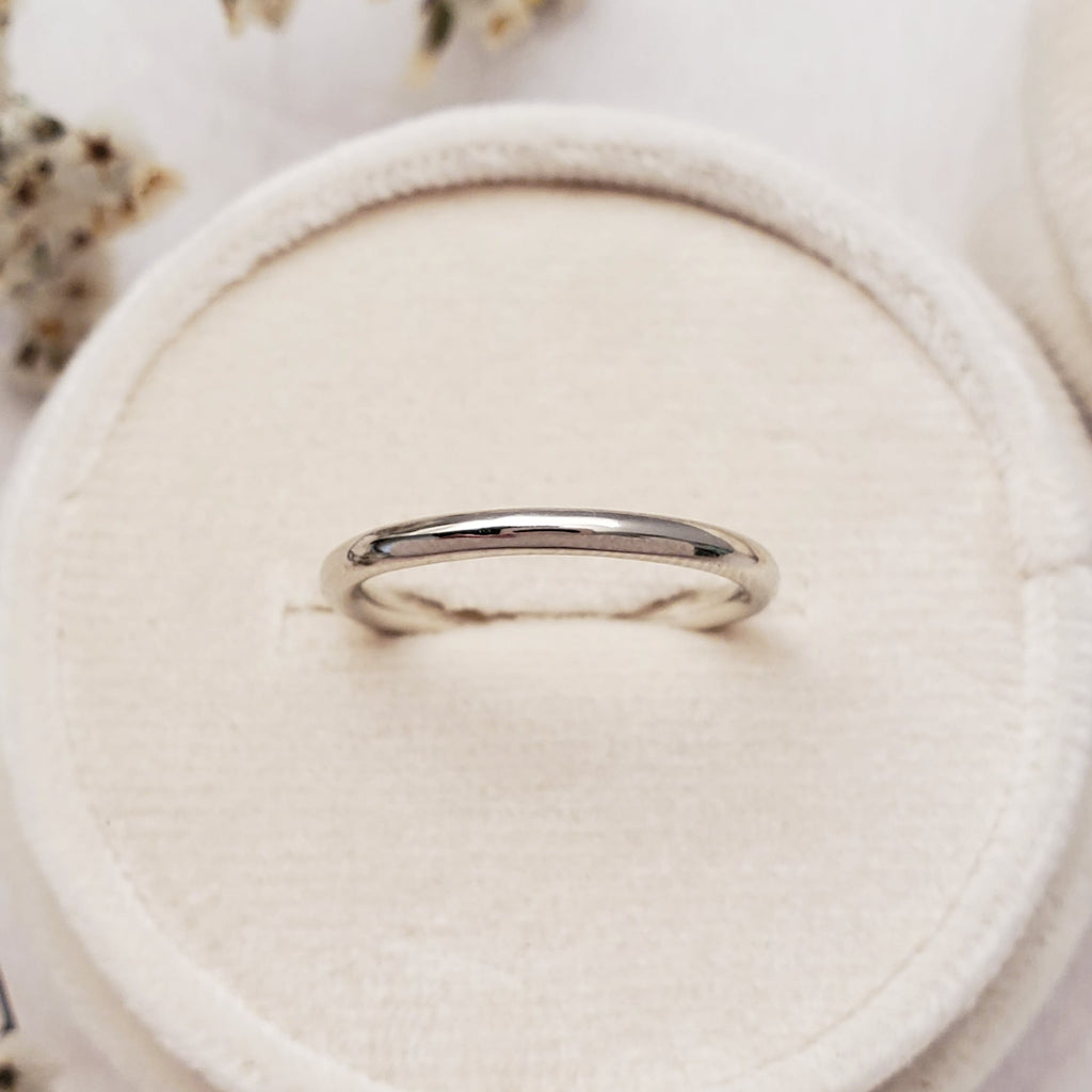 """Rounded"" 2mm Band 14K White - Ready-to-ship - Size. 6.0"