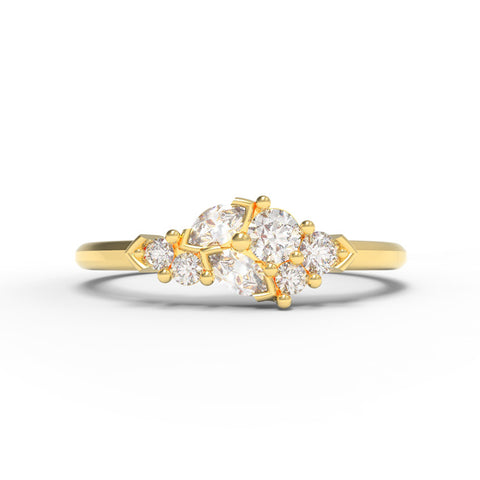 """Lily of the Valley"" - 0.235ct Marquise Leaf Ring"