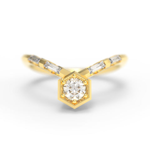 """Nouveau Art Deco"" - 0.35ct Hexagon Chevron Ring"