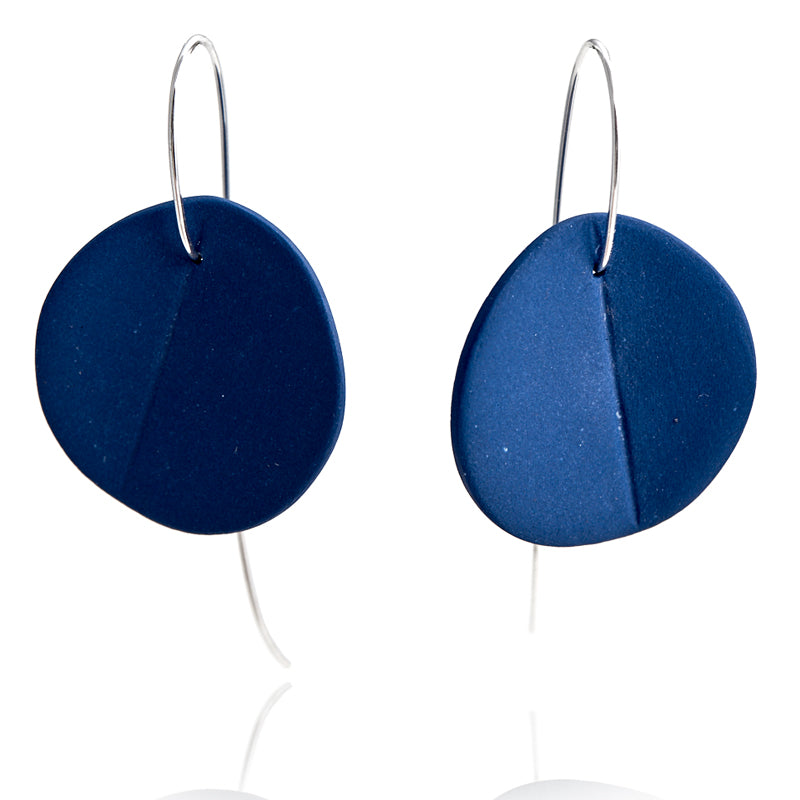 """Eucalyptus"" Porcelain Earrings - Cobalt Blue - Silver"