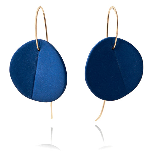 """Eucalyptus"" Porcelain Earrings - Cobalt Blue - Yellow Gold-Fill"