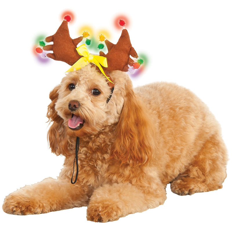 Reindeer Light Up Pet Antlers - kostumed