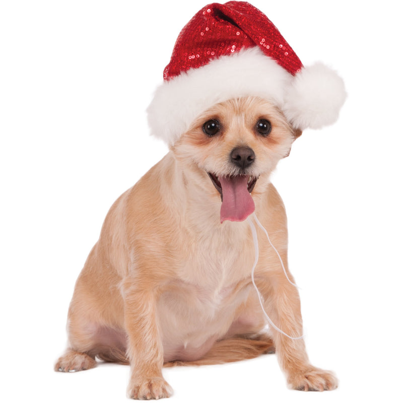 Sequin Red Santa Pet Hat - kostumed