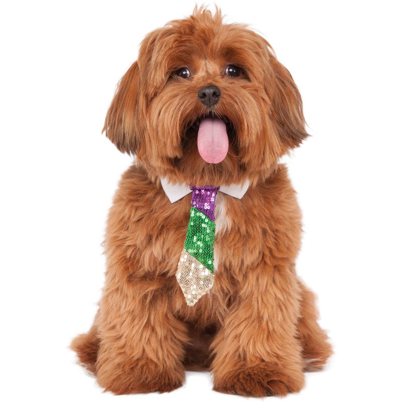 Sequin Purple Green Gold Pet Tie - kostumed