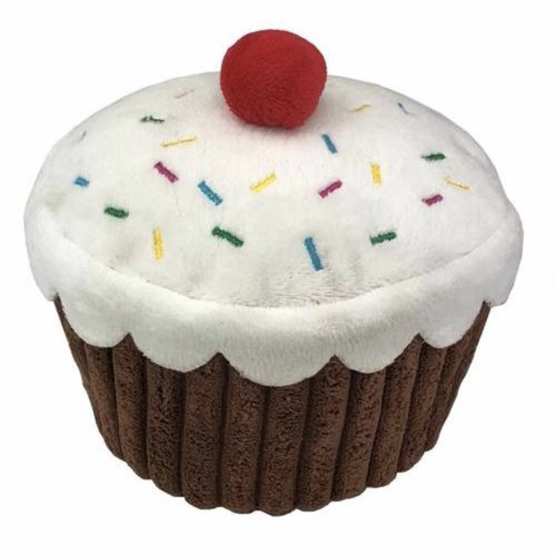 Cupcake Plush Dog Toy - kostumed