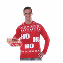 Red Ho Ho Adult Ugly Christmas Sweater - kostumed